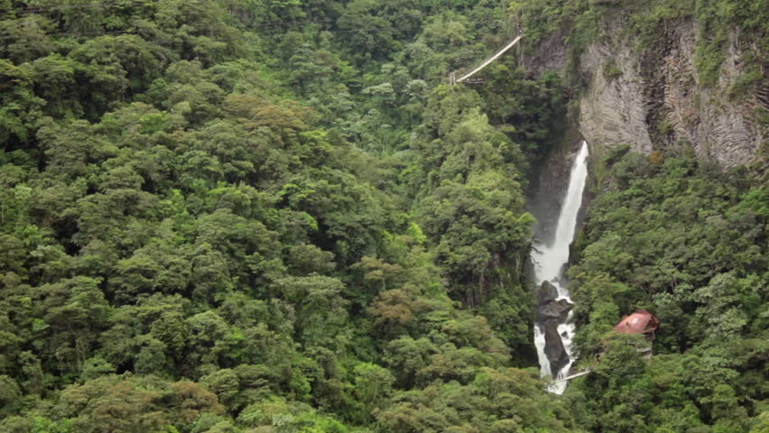Pailon del Diablo - Waterfall surrounded by cloud-forest near Banos in the Ecuadorian Andes. - HD stock video clip