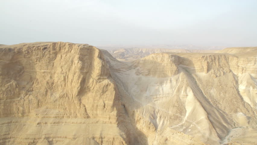 Canyon and rock landscape. Israel. Masada fortress.