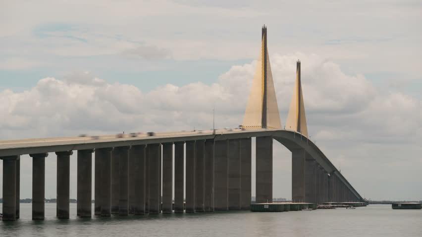 Time lapse of skyway bridge stock footage video 1677679 for Skyway bridge fishing pier