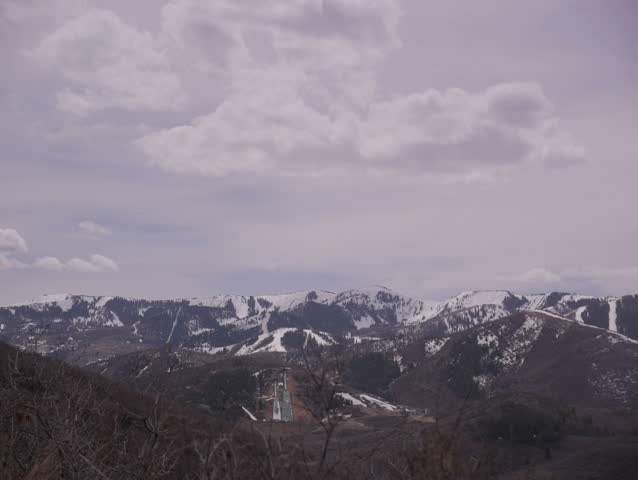Park City, Utah - April, 2015 - 4K static timelapse shot of Olympic Park from Glenwild Loop Trail.