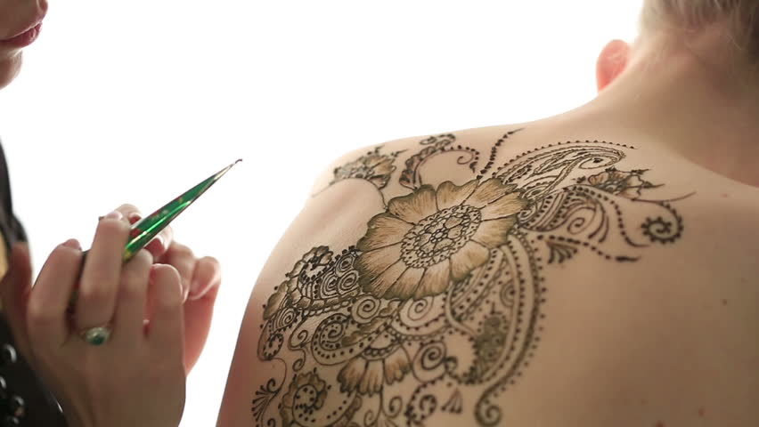 Mehndi Henna Hd : View of female naked body decorated with henna stock