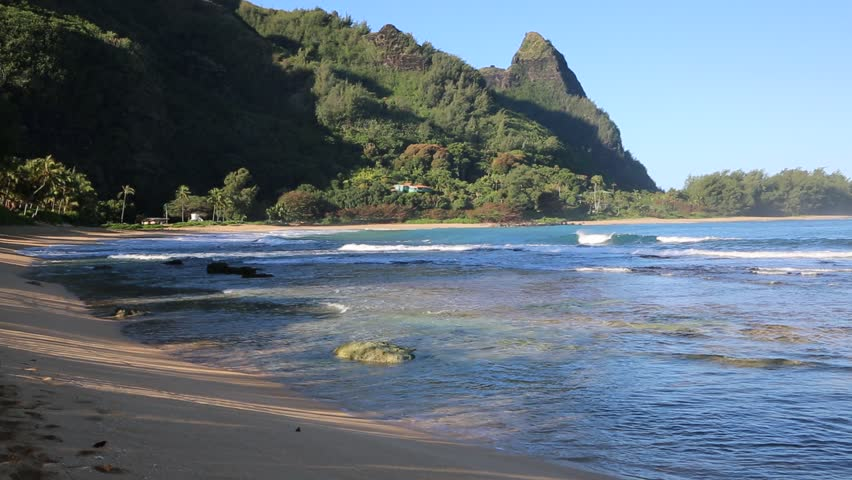 Mountain Kauai Beach Cliff Sea Sand Shrubs Aerial: Kauai Cliffs And Sea Stock Footage Video 4457981