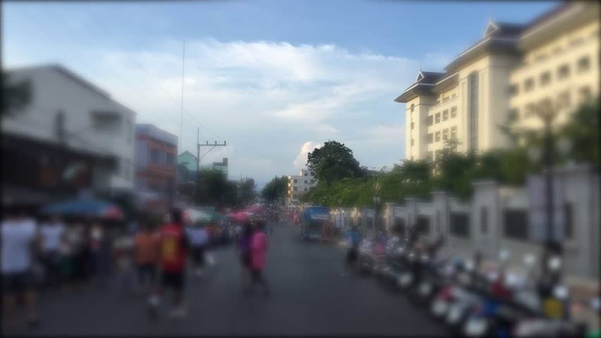 Defocus timelapse view of Chaw Fa Road street night market in Krabi, Thailand
