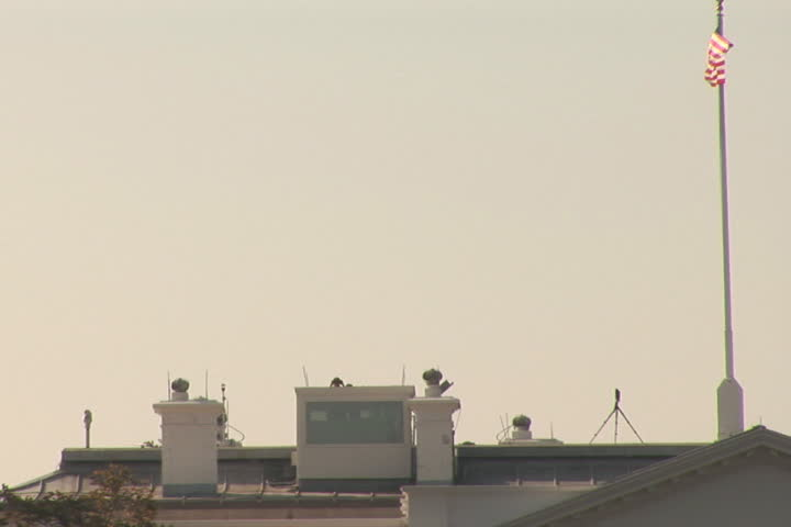 NTSC: White House security on rooftop - SD stock footage clip