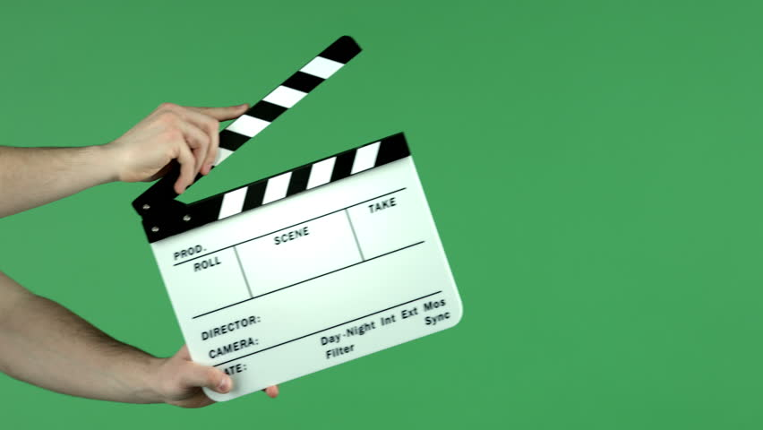 Clapper board used on green screen.