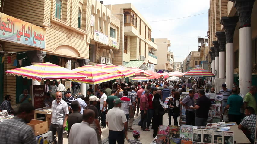 BAGHDAD, IRAQ - MAY 2015: General view of Mutanabbi Street in Baghdad. Mutanabbi Street where writers and intellectuals meet is the historic center of Baghdad bookselling