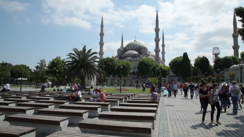 ISTANBUL, TURKEY, JUNE 25, 2015: Istanbul Blue Mosque. The Sultan Ahmed Mosque is a historical mosque in Istanbul, the largest city in Turkey and the capital of the Ottoman Empire - HD stock footage clip