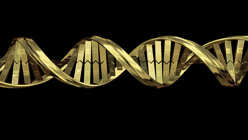 gold doublehelix dna strand stock footage video 1079281