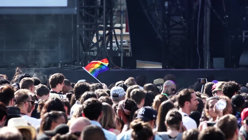 PARIS, FRANCE - 27 JUNE 2015; Anonymous Crowd of People in a Gay Pride Concert in the Place de la Republique, Paris - 60fps