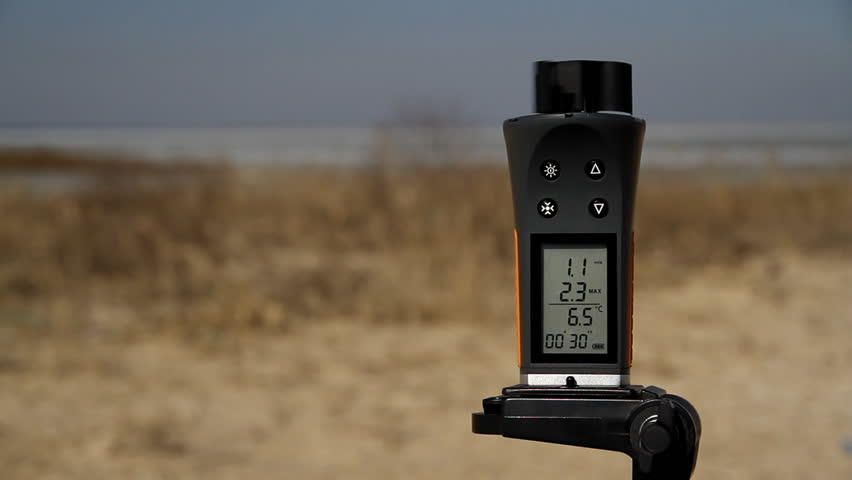 Anemometer rotated by gust of wind - HD stock video clip