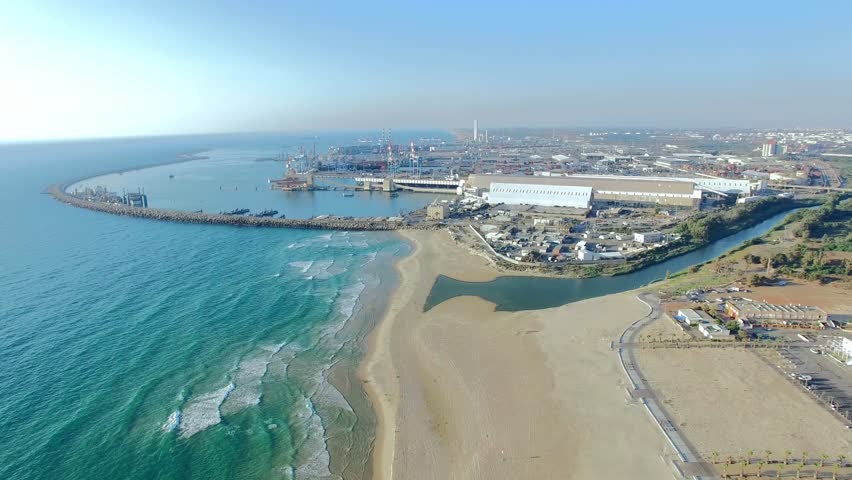 Aerial shot of Port and shipping docks.