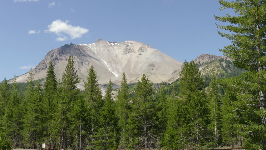 Mountain Peak and Pine Tree forest at Lassen Volcanic National Park in Northern California, USA.  Video shot at 4k resolution.