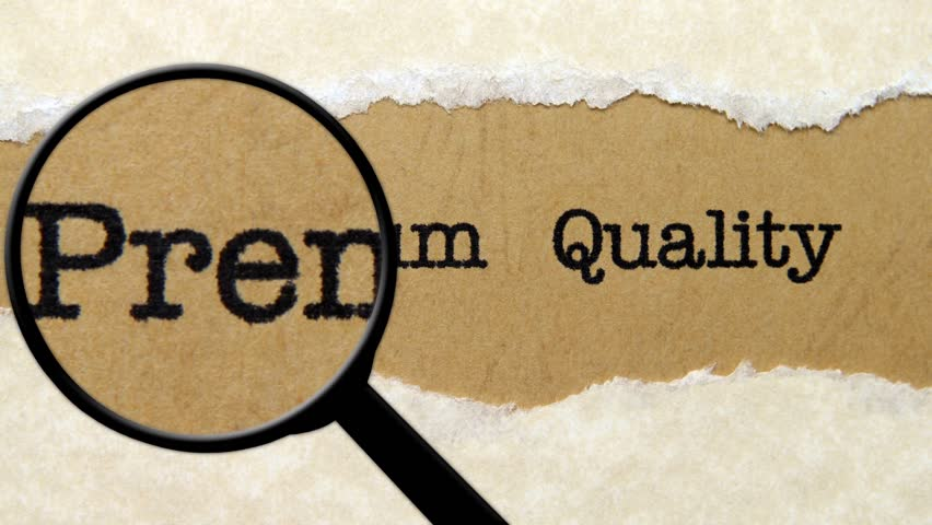 Magnifying glass on premium quality text
