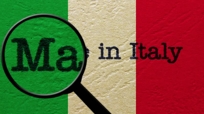 Magnifying glass on made in italy