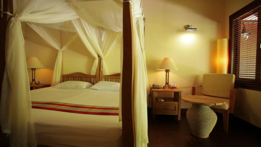 dolly shot of resort hotel room