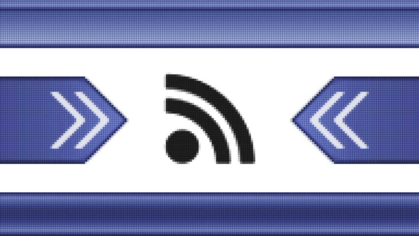 RSS icon on a pixel screen. Seamless.
