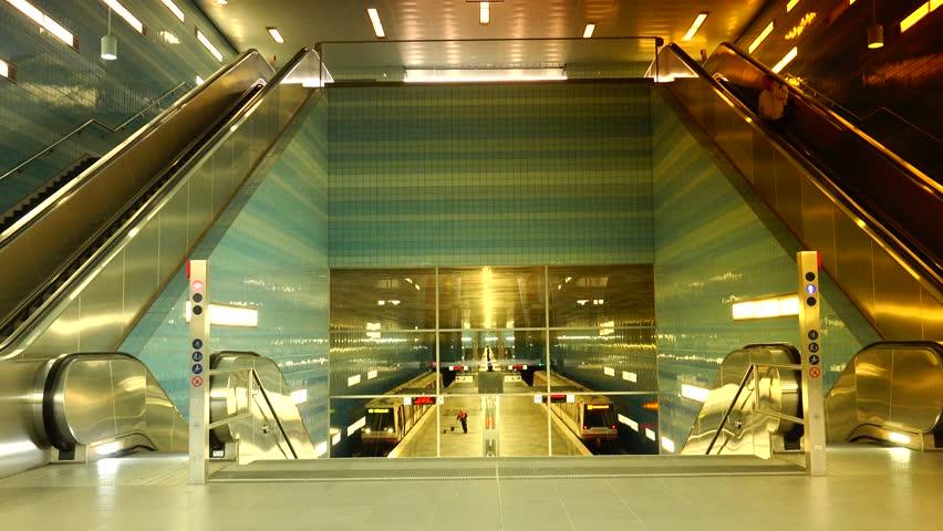 HAMBURG, August 6,2013, U?berseequartier Underground Train Station ...