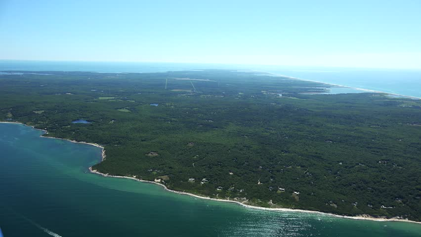 Martha's Vineyard SW coast 4k aerials. - 4K stock video clip