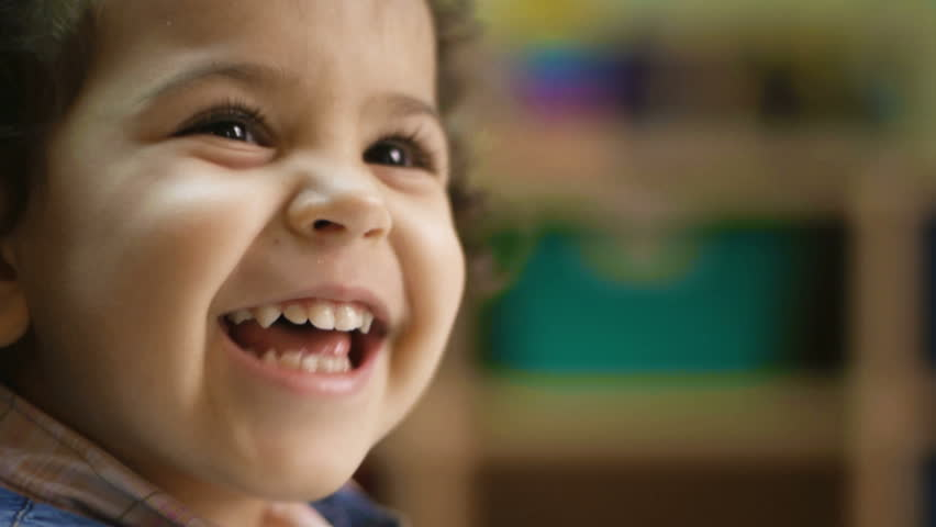 Baby girl laughing, clapping hands and having fun at kindergarten. Child, children, education, school - HD stock video clip