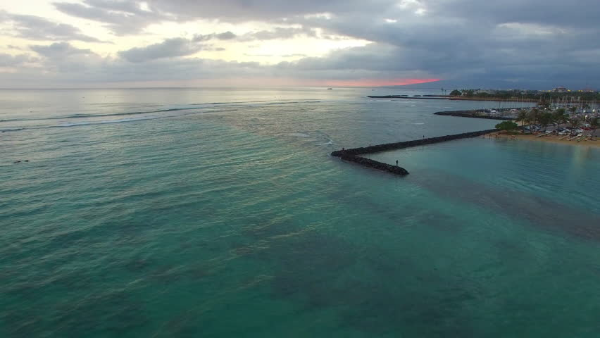 Aerial flight over a Catamaran in Waikiki beach