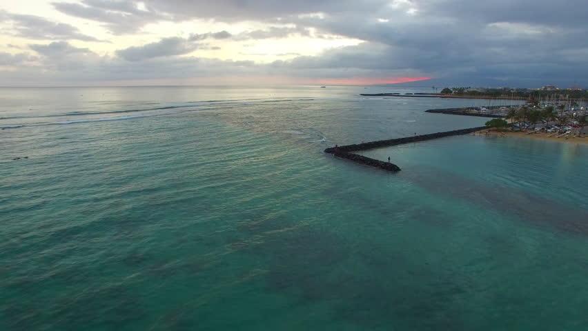 Aerial flight over a Catamaran in Waikiki beach