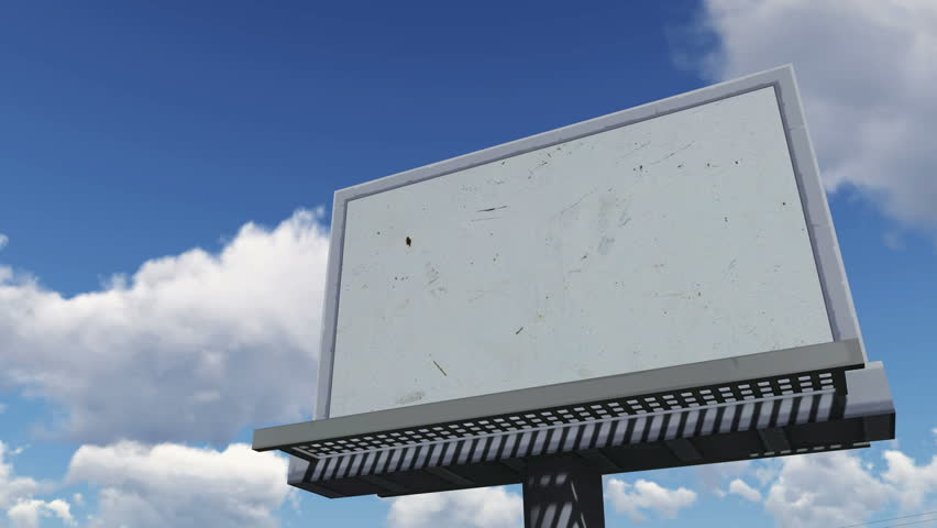 Look up at the blank cartoon billboard on the blue cloudy sky background. Decorative three dimensional animation. - 4K stock video clip