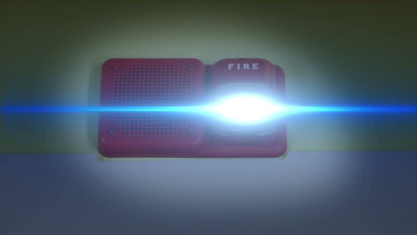 Fire Alarm Ringing with Blue Flashing Light