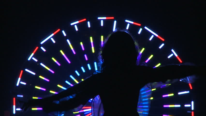 Neon Silhouette   - HD stock footage clip