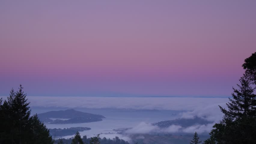 Marin County, California - July, 2015 - Timelapse of the bay from the Cushing Memorial Amphitheatre in Mount Tamalpais.