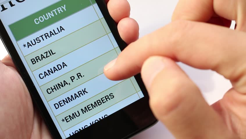 List of States and currency With Smart phone. Foreign exchange market - HD stock footage clip