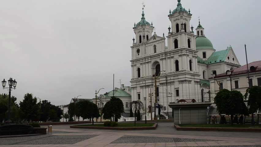 St. Francis Xavier Cathedral is a Roman Catholic cathedral in Grodno, Belarus. Originally a Jesuit church, it became a cathedral in 1991, when the new diocese of Grodno was erected. - HD stock video clip