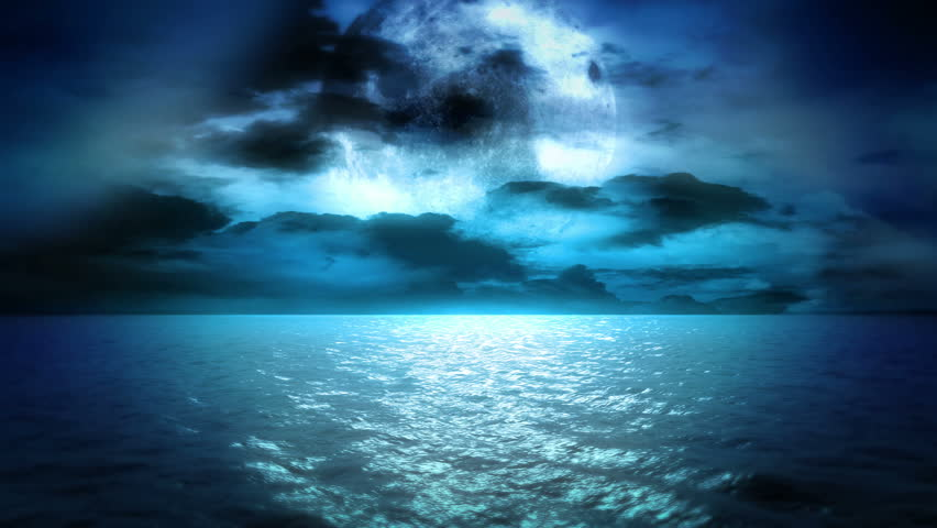 Ocean Moonlight and Clouds (Loop)