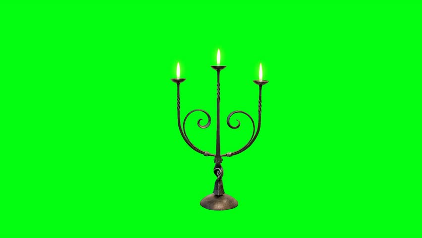 Candle Stick with Flames on a Green Screen Background