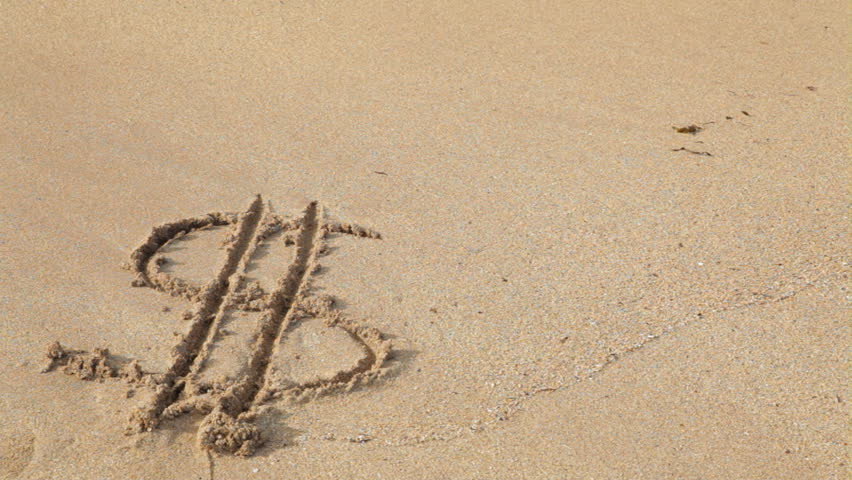 Dollar sign drawn in the sand on an ocean beach is washed away by a single wave. Conceptual clip for a weak or eroding dollar. - HD stock video clip
