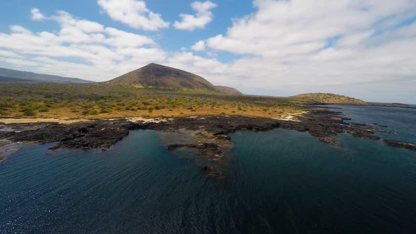 Aerial shot Isabella island galapagos