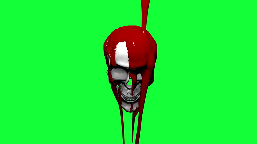 4K Blood drips down and onto a human skull against solid green.  Comes with the Alpha Matte.
