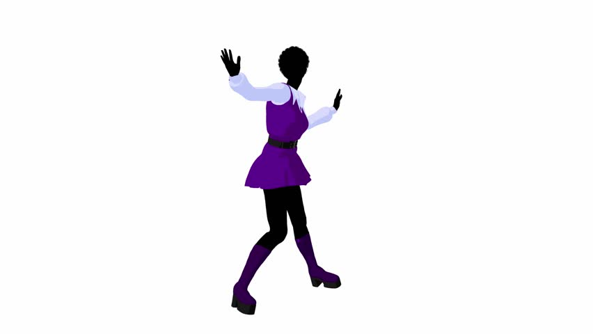 African american disco girl standing by a lava lamp on a white background - HD stock footage clip