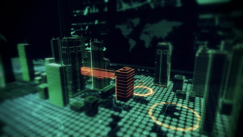Security Access Scan over Holographic Cyber City displayed on top of Computer Laptop with Futuristic infographics and maps. 4K Resolution