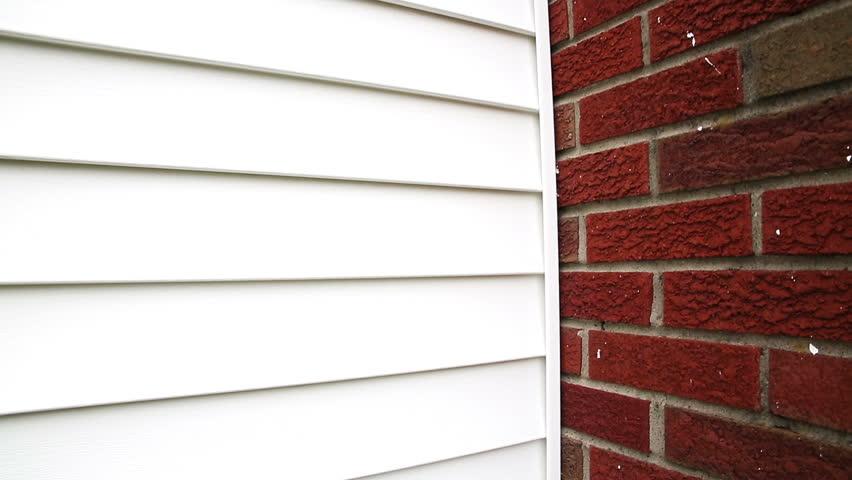 House Vinyl Siding Chimney Closeup Camera Rises Up On The