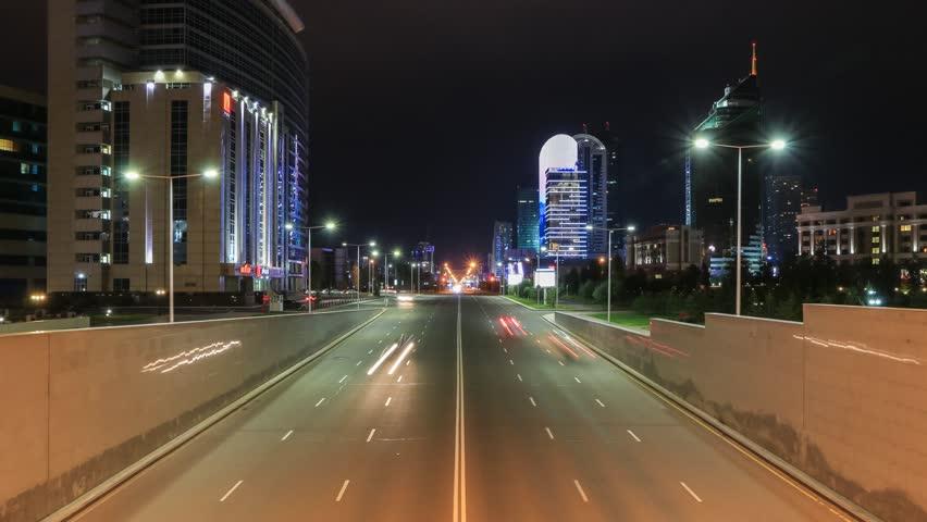 ASTANA - JULY 2015: Cars on the night street