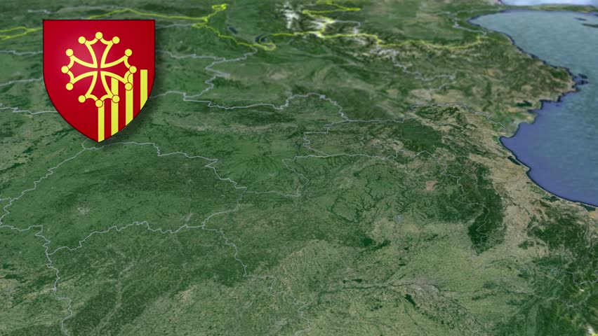 Languedoc-Roussillon whit Coat of arms animation map Regions of France