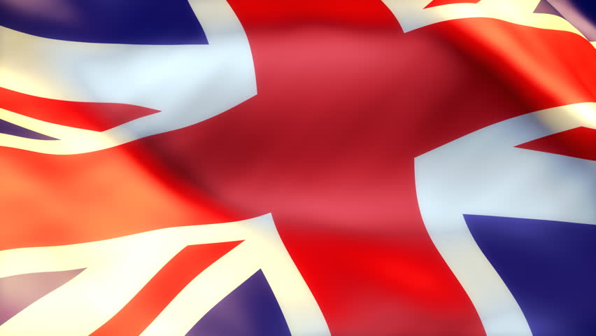 british flag waving on sun - seamless loop  - HD stock footage clip