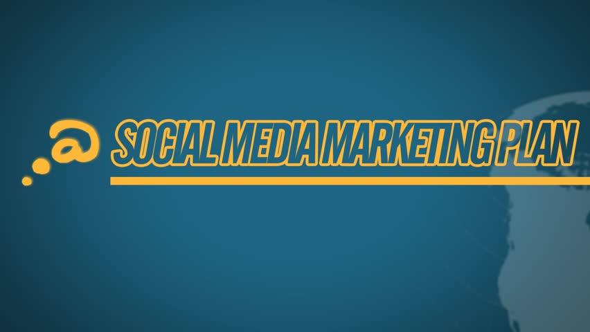 Social Media Marketing Plan video illustration on blue in HD (1920x1080 pixels, 30 sec)