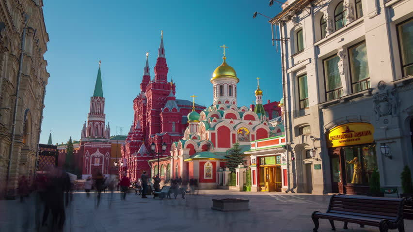 moscow famous tourist street red square summer light 4k time lapse russia - 4K stock footage clip