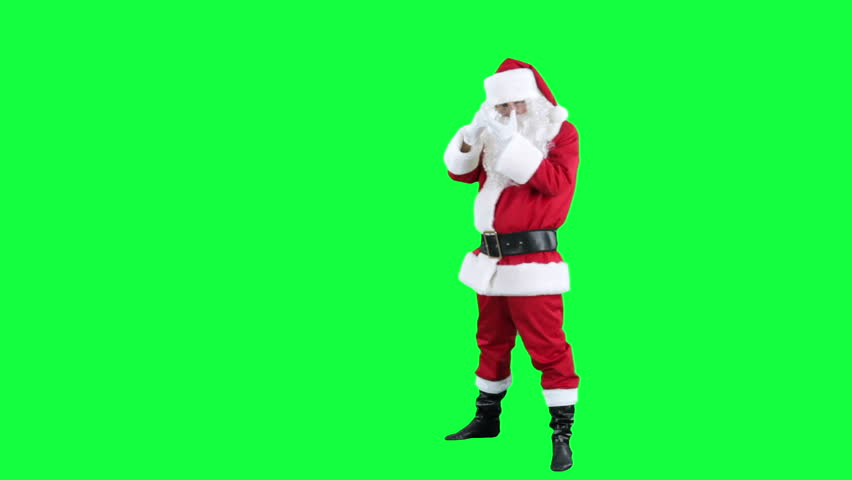 Santa Claus depicts the photographer chroma key (green screen). Santa makes a picture with an imaginary camera isolated on green