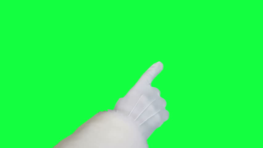 Santa's hand using touch screen closeup chroma key (green screen). Hand in a white glove use gestures for navigation Tablet PC on green