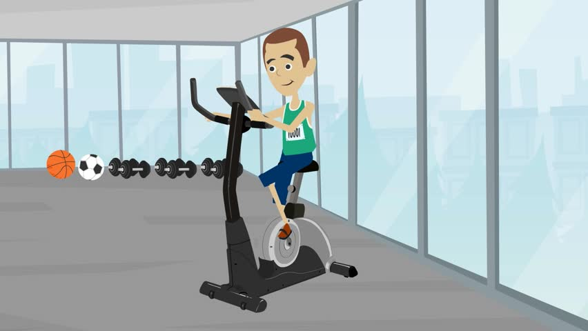 Video animation color cartoon sports people in the gym exercise on