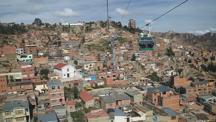 Houses of La Paz with Teleferico (Cable car), Bolivia