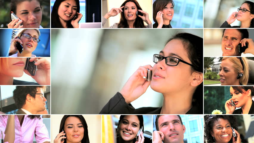 Montage collection of young business people communicating by cell phone