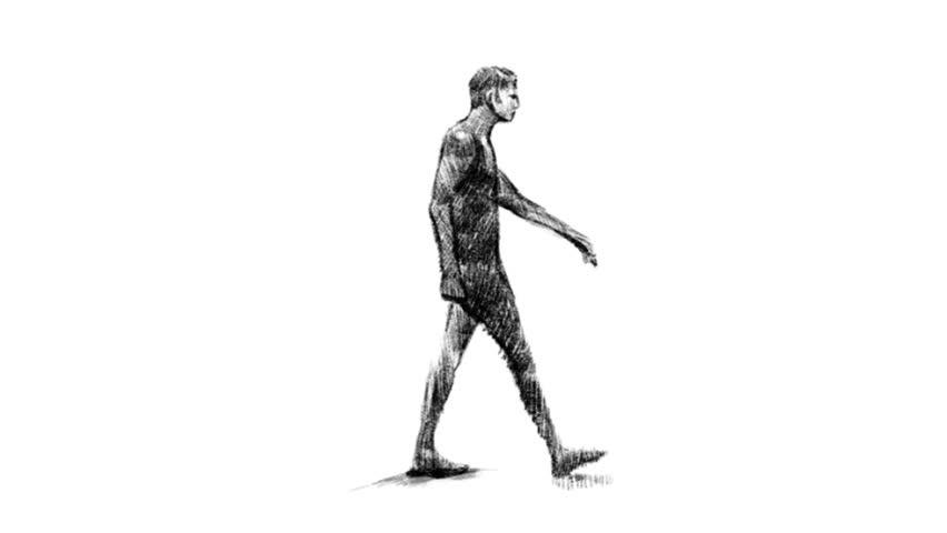 FullHD 1920x1080 Walk loop 5sec Mov.(Jpeg) 29.97 Ntsc/Man Walking Drawing/I drawed man walk frame by frame